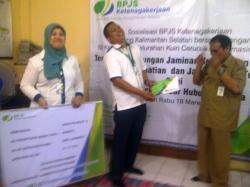 SOSIALISASI : BPJS Ketenagakerjaan menggelar sosialisasi di Kelurahan Kuin Cerucuk, Banjarmasin, Kalsel.