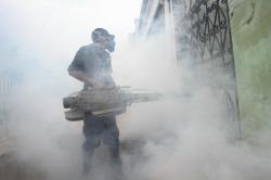 CEGAH DBD : Petugas melakukan pengasapan (fogging) untuk membasmi nyamuk Aedes aegypti di pemukiman warga. Dalam sebulan, puluhan warga di Barito Utara terkena DBD.