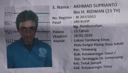BURU NARAPIDANA: Petugas Lembaga Permasyarakatan Kelas II A Palangka Raya tengah fokus memburu Akhmad Suprianto, narapidana kasus pembunuhan yang kabur dari tahanan sejak pekan lalu.