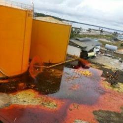 TANGKI BOCOR: Satu dari dua tangki penampungan minyak sawit mentah (CPO) PT Gemareksa Mekarsari di sekitar Pelabuhan Kalaf, Kumai, bocor. Tumpahannya mencemari air sungai dan laut. Kebocoran ini baru diketahui pada Minggu (17/5/2015) pagi.