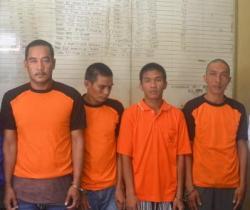 EMPAT PEROMPAK: para perompak di perairanPagatan,Katingan initelah berhasil ditangkap Polres Katingan.