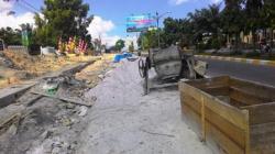 materialproyek mengganggu lalu lintas di jalan protokol Kota Pangkalan Bun