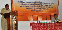 SOSIALISASI PKPU : KPU Kapuas menggelar sosialisasi Peraturan Komisi Pemilihan Umum (PKPU) Nomor 7 tahun 2015 tentang Kampanye Pemilihan Gubernur dan Wakil Gubernur, Bupati dan Wakil Bupati dan atau Walikota dan Wakil Walikota di Gedung Lawang Kameloh Jalan RA Kartini, Kuala Kapuas, Selasa (1/9/2015).