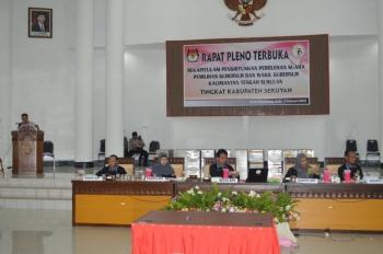 RAPAT PLENO : Rapat pleno rekapitulasi suara Pilgub Kalteng yang digelar KPU Seruyan beberapa waktu lalu. Warga Seruyan yang golput mencapai 52%.