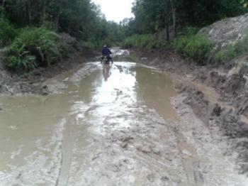 Jalan penghubung lima desa ini menjadi kolam berlumpur dengan kedalaman selutut orang dewasa.