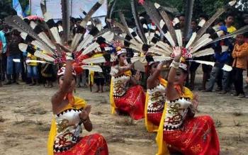 Salah satu tarian Dayak di Pulang Pisau. Tarian dan budaya daerah sekalteng bakal meramaikan Festival Kampung Buntoi. BORNEONEWS/DY