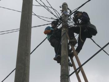PERBAIKAN JARINGAN : Petugas PLN sedang memperbaiki jaringan listrik. Sementara itu, warga Kecamatan Damang Batu dan Miri Manasa sangat mendambakan masuknya jaringan listrik PLN ke daerah mereka.