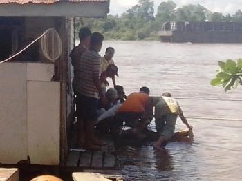 EVAKUASI: Evakuasi jasad Dina, yang tenggelam di Sungai Barito, di Buntok, Kabupaten Barito Selatan, Minggu (14/2/2016) siang. Dina tenggelam setelah menyelamatkan adiknya yang terpeleset di lanting., pada Jumat (12/2/2016)