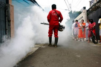 Petugas melakukan fogging di permukiman warga.