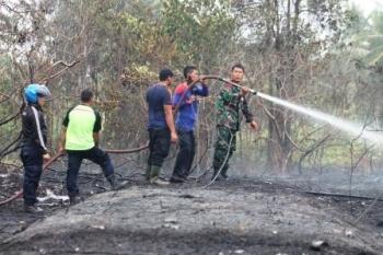WASPADA KARHUTLA: Sejumlah petugas Damkar Kuala Pembuang dibantu anggota TNI saat memadamkan api lahan yang terjadi di Kuala Pembuang, tahun lalu. Karhutla tahun ini dinilai tak separah tahun lalu.