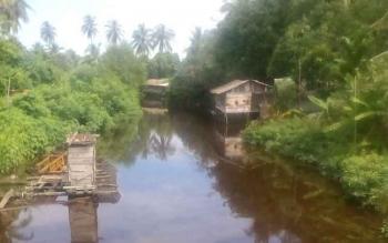 Tampak suasana sungai di Desa Persil Raya yang sunyi dari aktivitas warga pada pagi hari. Warga yang tinggal di sekitar sungai masih memilih untuk sementara tidak melakuka aktivitas keseharian di sungai tersebut. Dengan alasan takut dengan kemunculan buay