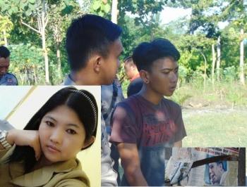 Devi Sri Rahayu (30) (insert) sebagai korban dan Pelaku, RF (16 tahun) saat olah TKP di tempat kejadian. Juga senjata tajam yang digunakan pelaku untuk membacok korban. (foto: Sanah)