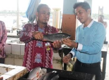 Bupati Kotim Supian Hadi didampingi Kepala Dinas Perindag, Mujiono memerhatikan ikan jelawat yang dijual di Pasar Ikan Mentaya PPM Sampit.