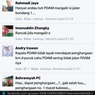 Berbagai komentar netizen terhadap penghargaan TOP PDAM yang diperoleh oleh PDAM Murung Raya. BORNEONEWS/SUPRI ADI