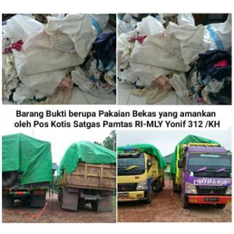 Patroli TNI di Nanga Badau Tangkap Dua Truk Pakaian Bekas dari Malaysia