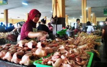 Pedagang ayam di Pasar Pusat Perbelanjaan Mentaya (PPM) Sampit. Kabid Perlindungan Konsumen dan Pengawasan Barang Disperindagsar Kotim, Krispinus, Selasa (27/12/2016), pastikan stok sembako aman. BORNEONEWS/RAFIUDIN/DOK