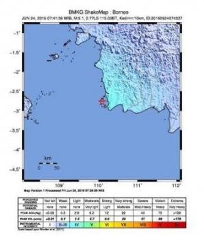 Pusat gempa di Kabupaten Sukamara. BORNEONEWS/WAHYU KRIDA