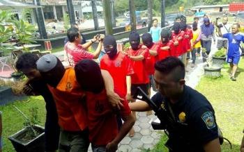 Polda Kalimantan Tengah meringkus 11 tersangka pengedar sabu dalam waktu sepekan. BORNEONEWS/BUDI YULIANTO