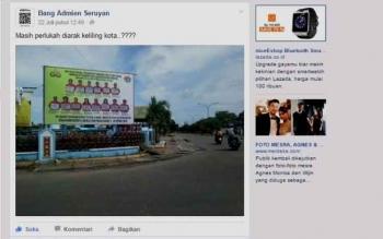Tampak satu postingan di media sosial facebook yang mengangkat topik soal terpasangnya baliho para tersangka pengedar Zenith, yang sengaja diposting salah seorang netizen Kuala Pembuang. BORNEONEWS/PARNEN