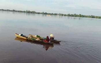 Transportasi sungai masih menjadi primadona masyarakat bantaran sungai Kapuas menjual hasil bumi.Terlihat 2 orang pedagang sayur menjual hasil kebunnya ke pasar besar Kuala Kapuas. BORNEONEWS/DJEMMY NAPOLEON