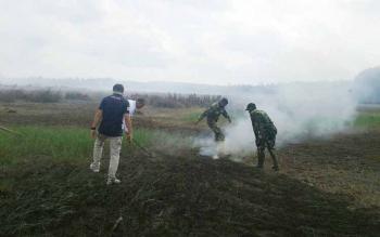 Kebakaran lahan di Kecamatan Kotawaringin Lama. BORNEONEWS/CECEP HERDI