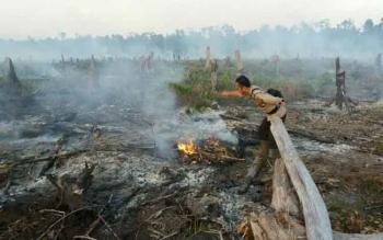 Seorang anggota Polsek Tasik Payawan berusaha memadamkan kobaran api yang membakar lahan di Desa Luwuk Kanan Dusun Hampangen, Rabu (24/8/2016) sore. BORNEONEWS/DOK