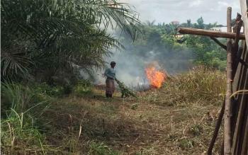 Kebakaran hutan dan lahan (karhutla). Jumali (46), dan Rudi (27), ayah dan anak di Kotawaringin Timur, ditangkap polisi karena membakar lahan, Minggu (14/8/2016). BORNEONEWS/M HAMIM