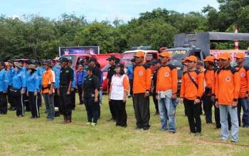 Satgas BPBD Pulang Pisau dan relawan dalam kegiatan gelar porsenel untuk penanggulangan Karhutla belum lama ini. BORNEONEWS/JAMES DONNY