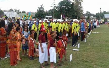 Festival Seni Budaya masyarakat Dayak Tomun, atau Festival Hulu Arai, di Jalan Rangkap, Kecamatan Bulik, Kabupaten Lamandau, Kalimantan Tengah, beberapa waktu lalu. BORNEONEWS/PENDAM TANJUNGPURA