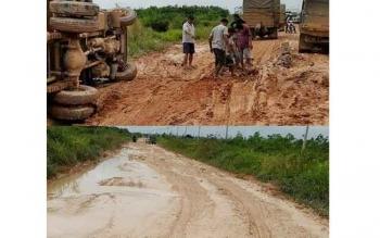 Kondisi jalur darat penghubung Pangkalan Bun-Kotawaringin Lama (Kolam), Kabupaten Kotawaringin Barat (Kobar) kembali memburuk. BORNEONEWS/RADEN ARYO