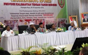 Musyawarah Perencanaan Pembangunan (Musrenbang) RPJMD dibuka di Aula Bapppeda Kalteng jalan Diponegoro, Rabu (28/9/2016). BORNEONEWS/ROZIKIN