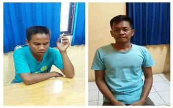 Lukbay (kiri), dan Rusma Jaya, tersangka Budak sabu. Aparat Polsek Dusun Selatan meringkus kedua tersangka di Kota Buntok, Kamis (29/9/2016). BORNEONEWS/URIUTU DJAPER