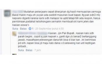 Permohonan yang disampaikan kepada Bupati Barito Utara melalui medsos yang disampaikan oleh guru dan orang tua murid SDN 3 Melayu agar ada penggantian kepala sekolah.
