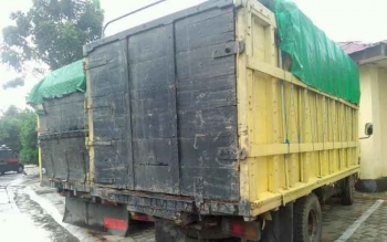 Dua truk bermuatan kayu ulin ini telah diambil pemiliknya, Sabtu (15/10/2016) lalu. Foto diambil Borneonews sehari sebelumnya. BORNEONEWS/BUDI YULIANTO