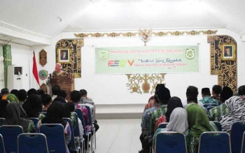 Ketua LASQI Pulang Pisau, Hj Nunu Andriani saat menyampaikan laporan kafilah Pulang Pisau. BORNEONEWS/JAMES DONNY