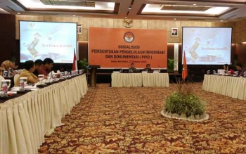 Badan Pengawas Pemilihan Umum Kalimantan Tengah melakukan sosialisasi pembentukan pengelola informasi dan dokumentasi kepada insan pers dan Panwaslu, Minggu (23/10/2016). BORNEO NEWS/RONI SAHALA