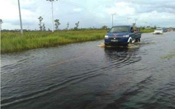 Banjir di Kecamatan Kahayan Tengah. Di Desa Tumbang Nusa, dan Desa Tnajung Taruna, Kecamatan Jabiren Raya, 313 rumah terendam banjir. Kepala BPBD Pulang Pisau, Salahudin mengungkapkan masyarakata buruh bantuan. BORNEONEWS/JAMES DONNY