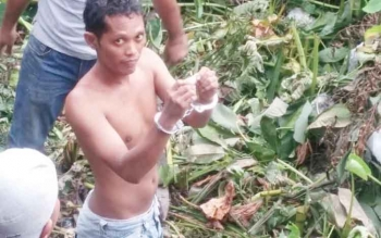 Ardiansyah alias Tanda, terduga pengedar Sabu, ditangkap satuan Narkoba Polres Barut dalam usaha pelariannya, Kamis (10/11/2016) sore. Warga Muara Teweh ini terancam hukuman 5 tahun penjara. BORNEONEWS/PPOST/AGUS SIDIK