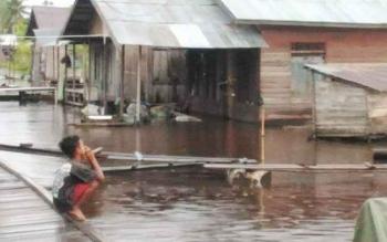 Banjir sedang menggenangi Jalan Mendawai, Kompleks Sosial, Palangka Raya. Seorang bocah 4 tahun tewas tenggelam ketika bermain di depan rumahnya. BORNEONEWS/BUDI YULIANTO
