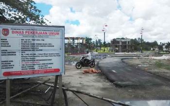 Proyek Taman Segitiga di Bundaran Pancasila akan berlanjut di 2017. BORNEONEWS/RADEN ARYO