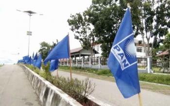 Ilustri sejumlah bendera PAN terpasang di Jalan Protokol Batu Batanggui, Nanga Bulik, sambut Musda PAN Lamandau 2016. BORNEONEWS/HENDI NURFALAH