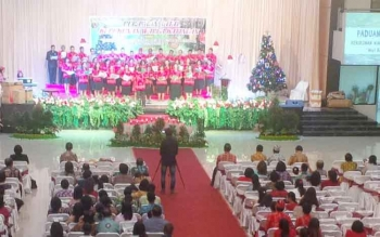 Suasana natal kerukunan warga Katingan Sampit yang digelar di Rins Balroom, Sabtu (3/12/2016) malam. BORNEONEWS/RAFIUDIN