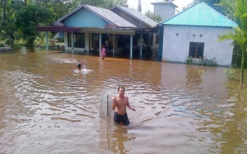 Kondisi kediaman penduduk di sebagian wilayah Kecamatan Dusun Utara saat ini