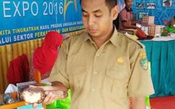 Pegawai Dinas Kehutanan dan Perkebunan Barito Utara saat menunjukkan karet dengan kadar yang baik, di stand Dishutbun pada Batara Expo 2016, Selasa (6/12/2016). BORNEONEWS/RAMADANI