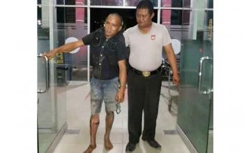 Ardiansyah, tersangka kasus pencurian dengan kekerasan didor petugas karena berusaha lari saat polisi minta ditunjukkan rumah temannya, Kamis (8/12/2016) dini hari. BORNEONEWS/DJEMMY NAPOLEON