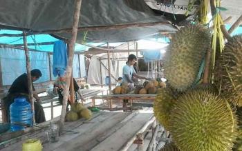 Sejumlah penjual buah durian tampak sibuk melayani pembeli di tepi Jalan Trans Kalimantan wilayah Kereng Humbang Kasongan, Senin (2/1/2017). BORNEONEWS/ABDUL GOFUR