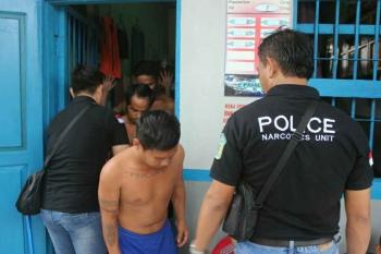 Beberapa pengedera narkoba yang berhasil dibekuk Polres Kobar. (BORENONEWS/FAHRUDDIN FITRIYA)