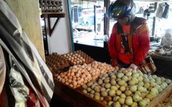JUAL TELUR : Seorang warga sedang membeli telur di Pasar Besar, Palangka Raya, Jumat (6/1/2016). BORNEONEWS/TESTI PRISCILLA