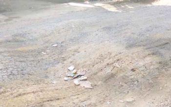 RUSAK : Kondisi jalan Ampah-Jihi, Bartim rusak, Rabu (11/1/2017). BORNEONEWS/AMAR ISWANI