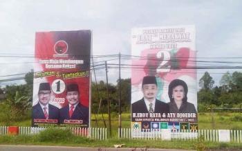 APK dua pasangan calon bupati dan wakil bupati Barito Selatan. (BORNEONEWS/URIUTU)